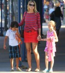 Glum-Faced Heidi Klum Takes Kids Out To Dinner 0710