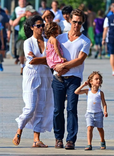Matthew McConaughey and Camila Alves Spend A Quiet Day Along The Hudson With Their Kids