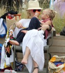 Gwen Stefani takes her son Zuma to the beach with some friends in Santa Monica, California on July 14, 2012.