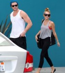 Miley Cyrus and her fiance, actor Liam Hemsworth, were seen leaving Pilates class in Studio City, California on July 13, 2012.