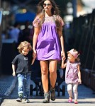 Model Camila Alves takes her two kids Levi and Vida McConaughey out for brunch in New York City, New York on August 29, 2012.