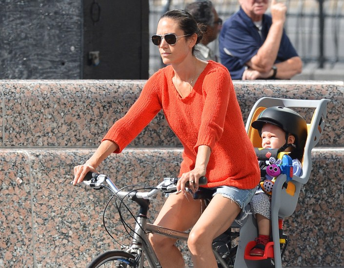 Jennifer Connelly & Paul Bettany Take A Family Bike Ride