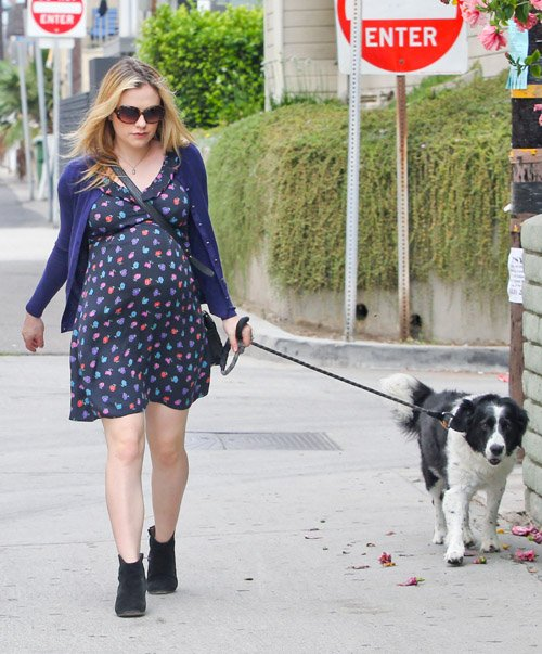 "Expecting ""True Blood"" actress Anna Paquin enjoyed a stroll with her dog and a pal in Venice, California on August 24, 2012. She was wearing a dark blue dress that showed off her growing baby bump."