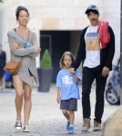 Red Hot Chili Peppers singer Anthony Kiedis spends his free time playing with his son Everly Bear on playground in a park in Prague, Czech Republic on August 26, 2012. Anthony, his girlfriend and Everly chased each other around on the grass.