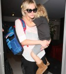 Singer Ashlee Simpson arrived at the LAX Airport in Los Angeles, California on August 29, 2012 with her son Bronx Wentz in her arms to catch a flight out of town.