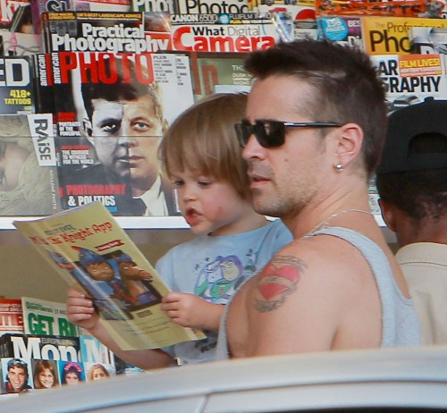 'Total Recall' actor Colin Farrell takes his son Henry out for an ice cream cone at Baskin-Robbins in Los Angeles, California on August 20, 2012. Afterwards they stop at a local newsstand and Colin buys Henry a children's book.