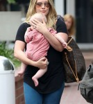 Hilary Duff packed up her son Luca Comrie into his stroller for a day out in Santa Monica, California on August 23, 2012. They headed for Fred Segal to do some shopping with a friend