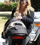 Hilary Duff takes her baby boy Luca to pilates in Los Angeles, CA on August 28th, 2012.