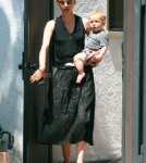 'Mad Men' actress January Jones and her son Xander spotted out for lunch with some friends in West Hollywood, California on August 21, 2012.