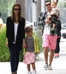 Jessica Alba and Cash Warren take their daughters Honor and Haven to breakfast at Nate 'N Als Delicatessen in Beverly Hills, California on August 25th, 2012.