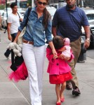 Actress Katie Holmes takes her daughter Suri Cruise to the Make Meaning activity center in New York City, New York on August 20, 2012.