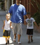 Kevin Federline and his longtime girlfriend Victoria Prince took their daughter Jordan Kay and his boys Sean and Jayden to get their hair cut at The Yellow Balloon salon in Studio City, California on August 15, 2012.
