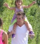 Singer Mark McGrath walked back to the car with his wife Carin Kingsland and their twins Lydon Edward and Hartley Grace after attending a kidÕs party in Los Angeles, California on August 22, 2012.