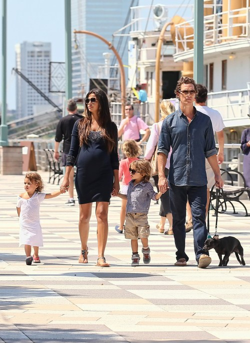 Matthew McConaughey takes the day with his family on the coast in New York, New York on August 26th, 2012. Pregnant wife Camila Alves held onto Vida while Matthew clutched onto Levi.