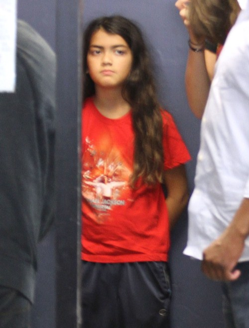 Michael Jackson's kids Paris, Prince and Blanket arriving with their bodyguards at their lawyers office in West Hollywood, California on August 13, 2012. The kids are in the middle of an ugly custody battle with the Jackson family.