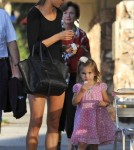 Victoria's Secret model Alessandra Ambrosio and daughter Anja Mazur were seen grabbing Pinkberry in Los Angeles, California on September 13, 2012.