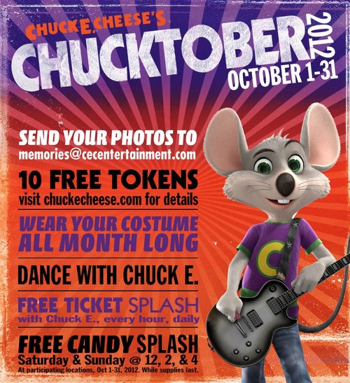 "Chuck E. Cheese's kicks off ""Chucktober"" with free tokens!"