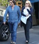 Elizabeth Berkley, her husband Greg Lauren and their new born son Sky Lauren out shopping at Bel Bambini in Beverly Hills, California on September 17, 2012.