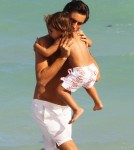 TV personality Scott Disick from 'Keeping Up With The Kardashians' spends some quality time with his son Mason while the cameras roll on the beaches of Miami, FL on September 18th, 2012.