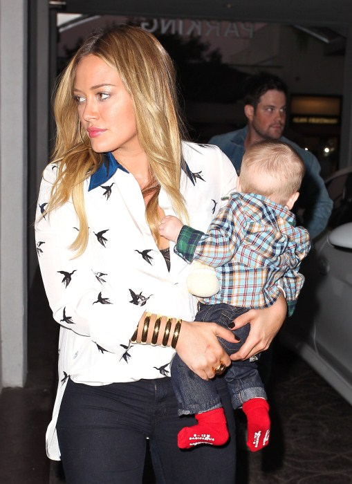 Hilary Duff was seen while out for her birthday dinner with her family, Mike and Luca Comrie, at a restaurant in Beverly Hills, California on September 28, 2012.
