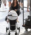 Reality stars Kim, Khloe, Kourtney Karadashian and her kids Mason and Penelope arriving at their hotel in Miami, Florida on September 15, 2012.