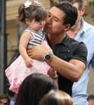 Mario Lopez brings his daughter Gia to meet Elmo from Sesame Street on the show EXTRA in Los Angeles, California on September 20, 2012.