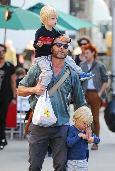 Liev Schreiber spends some quality father son time with his boys Alexander and Samuel in New York City, NY on September 24th, 2012.