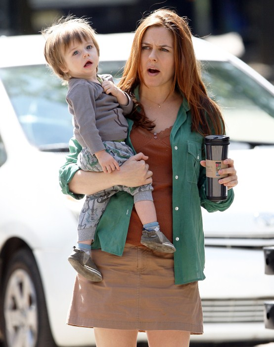 Alicia Silverstone Strolls With Her Little Cutie Bear