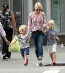 Naomi Watts, her mother Miv and two sons Alexander and Samuel take their dog Bob out for ice cream in New York City, New York on September 6, 2012.