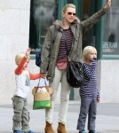 Naomi Watts hailing a cab with her sons Alexander and Samuel in New York City, NY on September 20th, 2012.