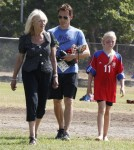 'True Blood' actor Stephen Moyer and his mother take his daughter Lila to her soccer game in Brentwood, California on September 29, 2012.