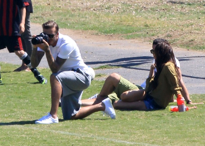 It was 'Soccer Sunday' for the Beckham's as David and Victoria played around while watching boys Brooklyn and Romeo kick the ball around the field in Brentwood, CA on September 23rd, 2012.