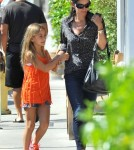 'Cougar Town' actress Courteney Cox and her daughter Coco Arquette out for lunch and some shopping with a friend at the Brentwood Country Mart in Brentwood, California on September 4, 2012.
