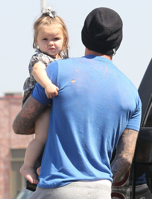 David Beckham and daughter Harper spotted out running some errands in West Hollywood, California on September 25, 2012.