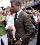 Victoria, David and Harper Beckham step out for lunch at Balthazar in New York City, New York on September 9, 2012.