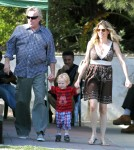 Gary Busey, his girlfriend Steffanie Sampson and their son Luke Busey enjoying the day at the 31st Annual Malibu Kiwanis Chili Cook Off, Carnival and Fair in Malibu, California on September 3, 2012