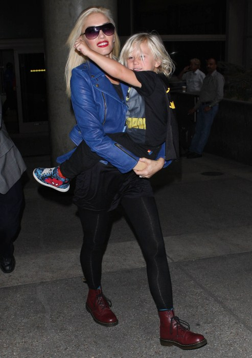 Gwen Stefani and her son Zuma arriving on a flight at LAX airport in Los Angeles, California on September 29, 2012.