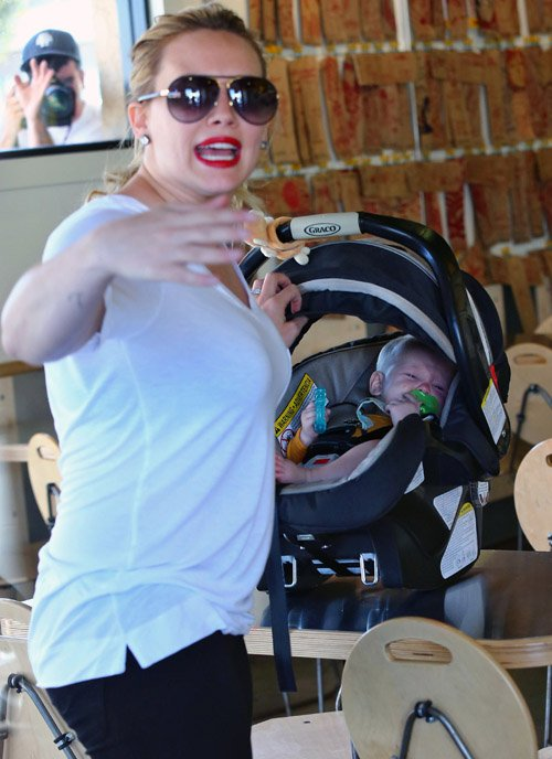 Hilary Duff and her son Luca Comrie picked up lunch from the Which Which Sandwich eatery in Los Angeles, California on September 2, 2012.