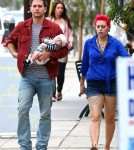 """Twilight"""" actor and musician Jackson Rathbone had an after noon out with his girlfriend, Sheila Hafsadi, and their son, Monroe Rathbone, in West Hollywood, California on September 5, 2012."""