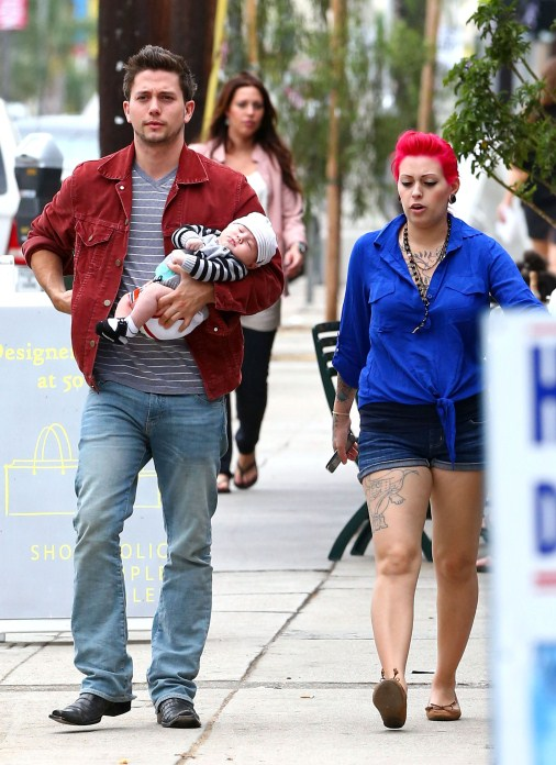 "Twilight"" actor and musician Jackson Rathbone had an after noon out with his girlfriend, Sheila Hafsadi, and their son, Monroe Rathbone, in West Hollywood, California on September 5, 2012."