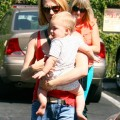 January Jones takes her son Xander shoe shopping at Wee Soles in Silver Lake, California on September 30, 2012.
