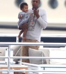 Singer Beyonce and her rapper husband Jay-Z vacationing on a yacht with their baby Blue Ivy Carter through the Mediterranean Sea, South of France, on September 4th, 2012.