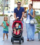 jessica Alba, her husband Cash Warren and their daughters Honor and Haven out for brunch at the Newsroom Cafe in West Hollywood, California on September 29, 2012.