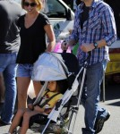 jon Cryer, his wife Lisa Joyner and daughter Daisy visited a farmers market in West Hollywood, California on September 2, 2012.