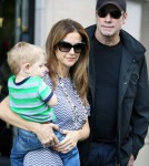 John Travolta and his wife Kelly Preston enjoy lunch with their son Benjamin at Pizza Pino on September 12, 2012 in Paris, France