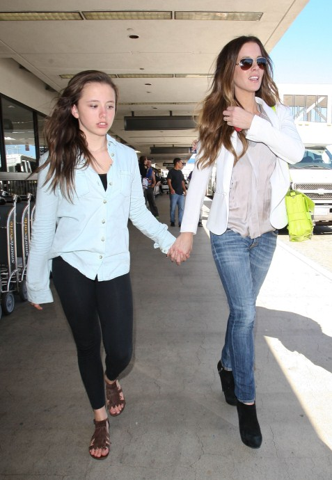 Kate Beckinsale Touches Down With Daughter Lily