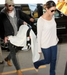 Kings of Leon singer Caleb Followill and his wife, Lily Aldridge, were seen departing LAX with their new daughter Dixie Followill in Los Angeles, California on August 31, 2012.