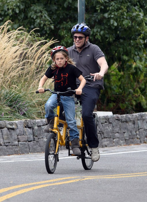 Mathew Broderick enjoyed a tandem bike ride with his son James Broderick around the city in the West Village area of New York City, New York on September 3, 2012.