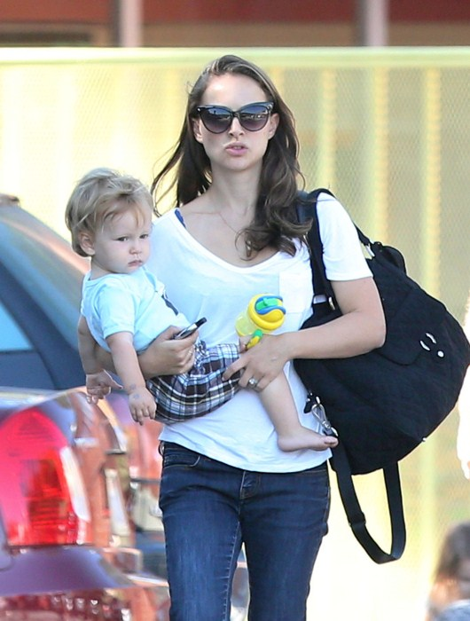 """Black Swan"" actress Natalie Portman takes her son Aleph to a community center gymnasium on September 20, 2012 in Los Feliz, California."