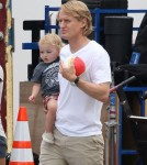 """Owen Wilson spend his lunch break on the set of """"The Internship"""" with son Robert - Sept 11 2012"""